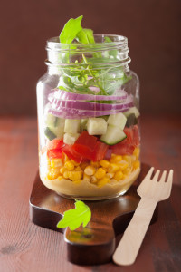 healthy vegetable salad in mason jar