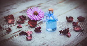 blue cologne in small bottle and dry flowers on old tree background.  Photo toned and with vignette. photo with shallow depth of field
