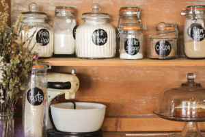 Baking Ingredients on antique hutch