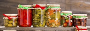 Preserved vegetables in the jars