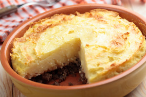 Cottage pie in a rustic baking dish