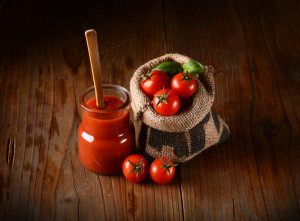tomato sauce in glass jar